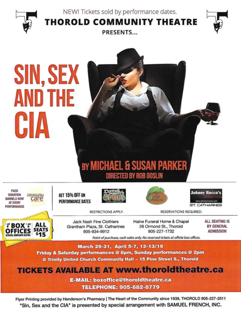 Sin Sex CIA Thorold Community Theatre Spring 2019